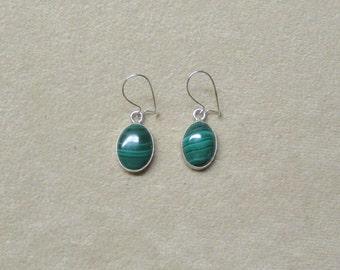 Malachite STERLING silver cabochon drop earrings.