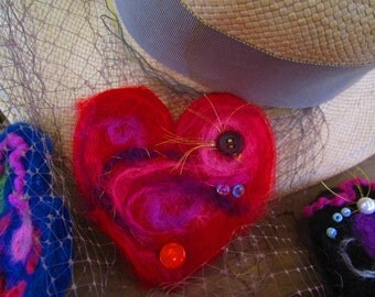 Hand felted heart pin. What color is your heart