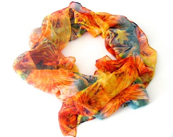Paris Chiffon Scarf, Daffodil print, Barbican Collection by Luminellis