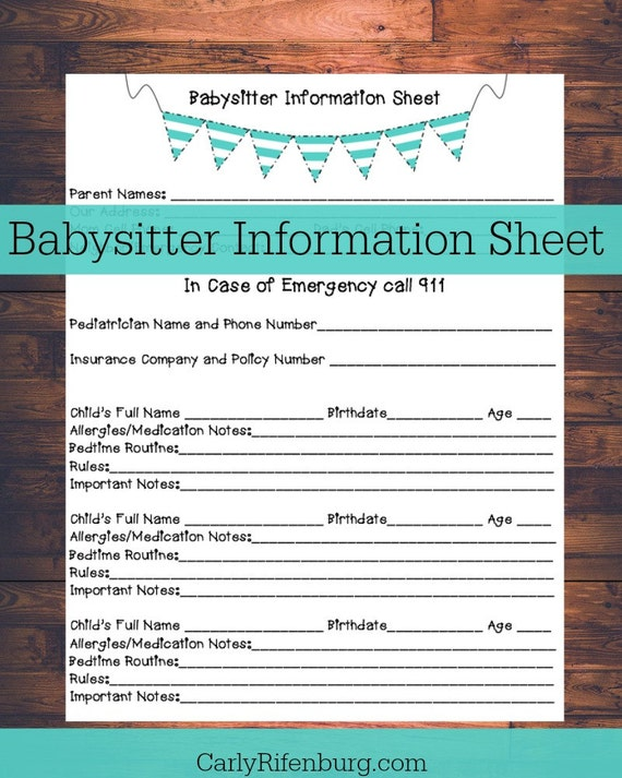 items similar to printable babysitter information sheet
