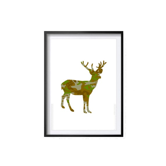 Camo Nursery Wall Decor : Camo deer art print nursery wall by digitalap