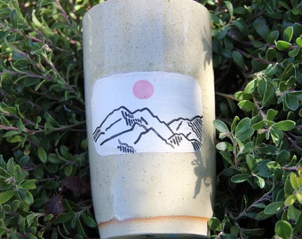 Two Moons Waves and Mountains Double Sided Hand Painted Cup or Vase
