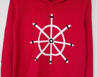 Vintage Retro Villager Sport Liz Claiborne Petite Medium Red Sailor Nautical Sweater, Ocean, Rockabilly Pinup