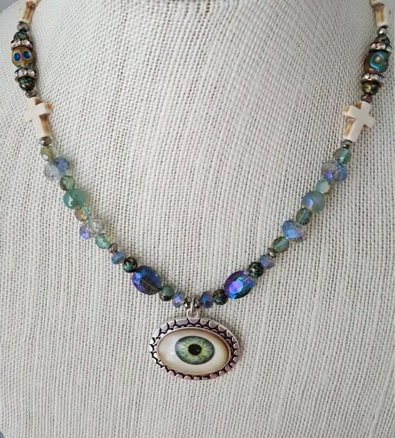 Aqua blue green eyeball Goth necklace with coffin keepsake box