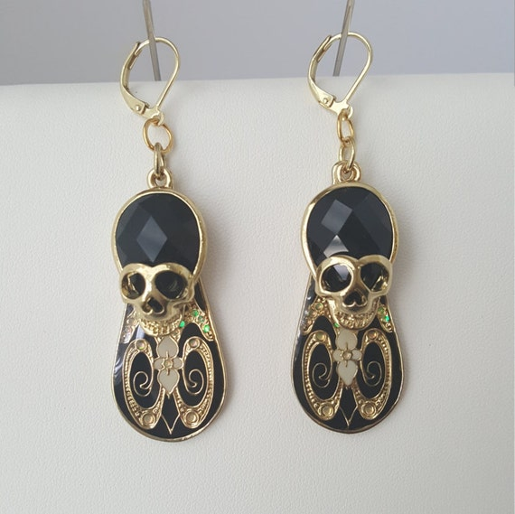 Day of the Dead Goth dangle earrings