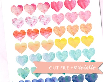 1 inch Heart Labels, Printable Planner Stickers, WATERCOLOR, Erin Condren Stickers, Label Sticker, Silhouette Cut Files, Functional Stickers