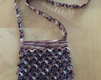 Brown Can Tab Crochet Purse