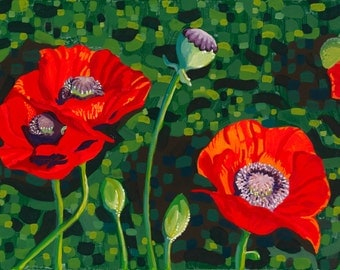 "Giclee, Wall Art, Print ""Popping Poppies"" Graphic, Realistic, Colourful, Floral, Decor"