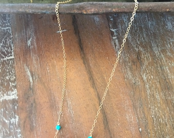 """14""""long oval shape magenta Turmaline necklace accented with Turquoise,TARNISH FREE,14ct gold filled chains and clasp, crystal,summer,pink"""