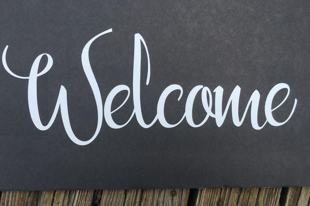 Welcome Door vinyl decal, Front Door Decal, Welcome Sign, Welcome ...