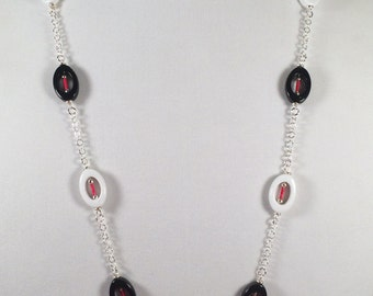 Red White and Black Acrylic Necklace