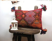 ON SALE Hand embroidered kilim Rug pillow, kilim pillow cover, Boho Traditional Hand Woven & Hand stitching, Both faces are kilim.