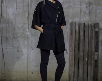 Belted black coat | Wool coat | Woollen short coat | Short warm coat | Trendy warm coat by Silvia Monetti