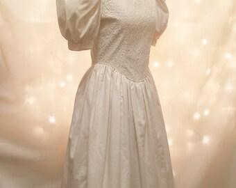 Vintage Wedding Gown - Tea Length Ivory Dress Lace Bodice and Short Bubble Sleeves - Vintage Midi Dress - Modest Wedding Dress