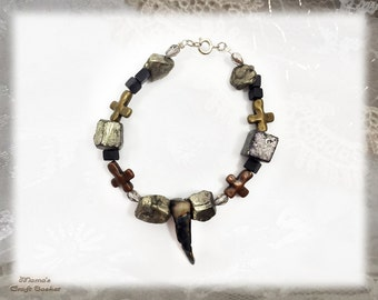 "Vampire's Tooth Bracelet, 7.5"", Homemade, Jewellery, Gold, Silver, Mother of Pearl, Beads, Rocks, Metal, Unisex, Music"