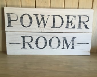 Powder Room Hand Painted Wood Sign