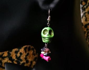 Lime green skull earrings