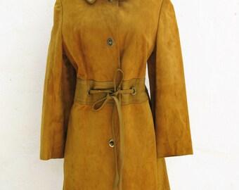 Stunning Vintage Caramel Suede & Leather Coat S/M
