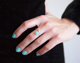 Mint Green Ring, Chrysoprase Ring, Sterling Silver Ring, Adjustable Ring, Mint Ring, Womens Ring Spring Ring Minimalist Ring, Spring Fashion