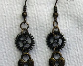 Steampunk bronze dangle earrings (Code EBD002)