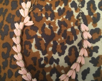 1960s Pink and Gold Leaf Necklace