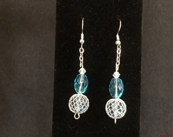 Blue Ice - Silver and Ice Blue Glass Beaded Dangle Beaded Earrings