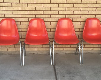 Set of 4 ORIGINAL Herman Miller RED Molded Fiberglass Side Chairs / Charles Eames Shell Chairs