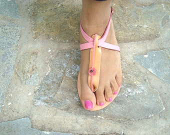 Leather sandals, Decorated sandals, Thong sandals, Natural sandals, Iris sandals