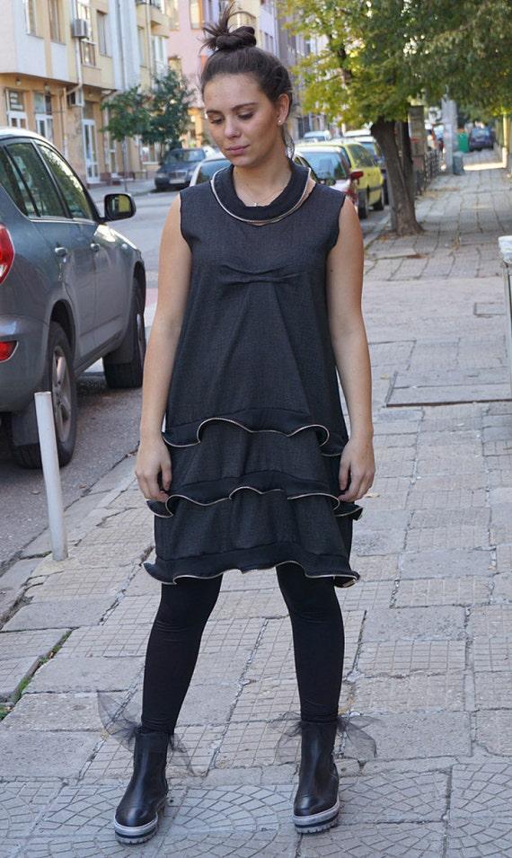 Designer Black Zip Dress/ Avant Garde Cool Loose Fashion Dress / Party Dress / Clubwear / Alternative Dress