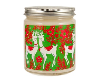 Christmas Candle, Holiday Candle,  Scented Candle, Christmas Decor, Container Candle, Soy Candle, Vintage Christmas Candle, Reindeer