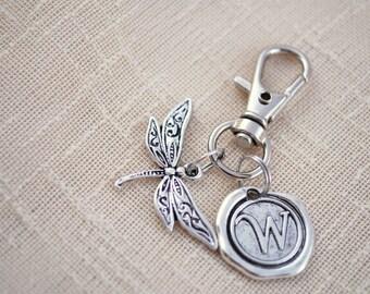 Dragonfly keychain,  FREE SHIPPING, Personalized keyring, yoga style, insect keyring, Unisex gift
