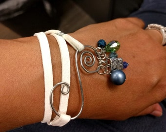 White leather wrap bracelet