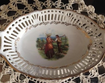 Vintage Porcelain Reticulated Dish, Harvest Field, Man and Woman, Made in Germany