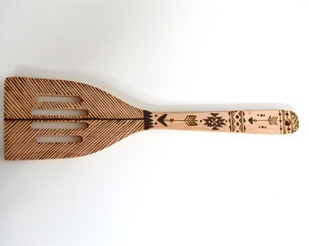 Aztec inspired Wooden Spoon & Spatula set - Handmade - Wood burned - Pyrography - Kitchen Utensils Gifts