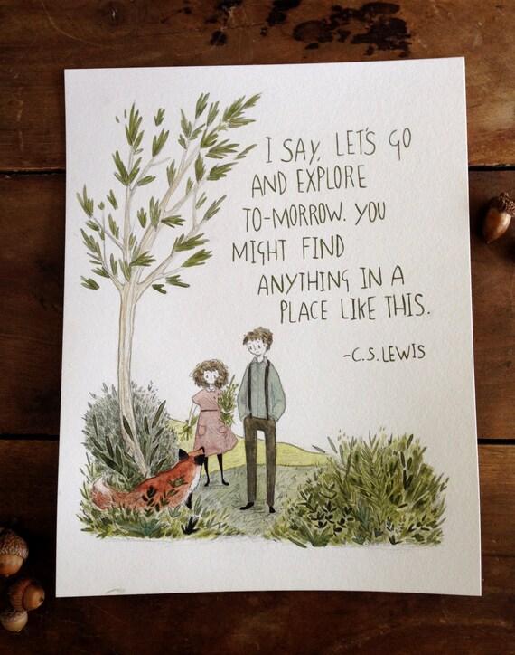 Let's Go And Explore - 8.5 x 11 original watercolor illustration