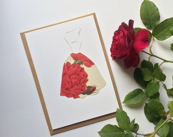Paper Cut & Collage 1950s Dress Greetings Card