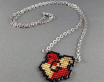 Gryffindor Necklace - Pixel Necklace Gryffindor Crest Necklace Pixel Jewelry 8 bit Necklace Seed Bead Neklace Harry Potter Necklace
