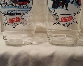 Set of 8 Vintage Pepsi Cola Winter Scene Drinking Glasses
