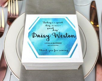 Wedding Favour Place Setting Gift Box, Blue Geometric Place Setting Wedding Favour, Personalised Wedding Favour Box