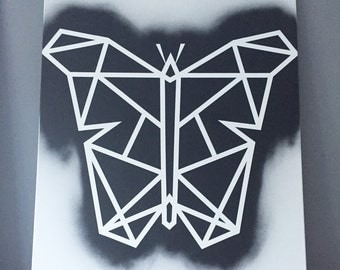 Geometric Black White Butterfly on canvas