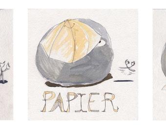 Canvas baby printed from original watercolor Trio ROCK PAPER SCISSORS
