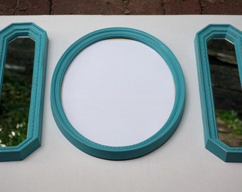 Vintage Aqua Blue Mirrors and Oval Frame--Oval Frame Includes Glass and Backing