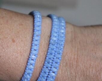 Baby Blue triple-wrap beaded bracelet