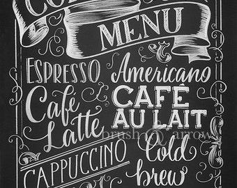 Coffee Menu printable, chalkboard style instant digital download