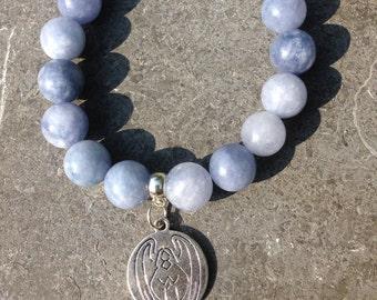 Bracelet women/girl semi-precious stones angelite with charm guardian angel for good health
