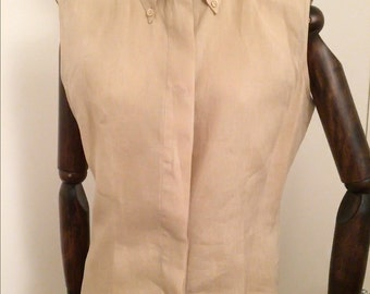Linen light beige sleeveless top and trousers by Max Mara