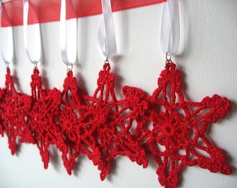 Set of 6 Red Crocheted Handmade Snowflakes Christmas Decoration Ornament