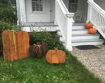 Large Wooden Pumpkin, Rustic Reclaimed Wood Pumpkin,  Wood Pallet Pumpkin, Fall Decor, Yard Decor