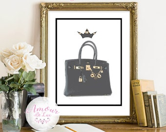 Hermes, Queen Birkin, Fashion Print, Luxury, Hermes Birkin Bag, Girly, Birkin Bag Print,Hermes Print, Fashionista,Purse Art, Birkin,Wall Art