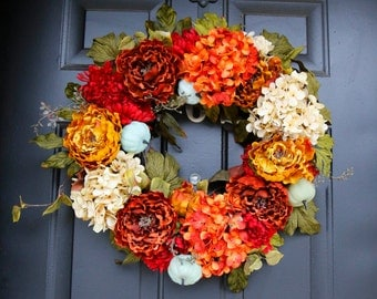 Beautiful Large Door Wreath, Fall Wreath Door, Fall Wreath With Pumpkins, Blue  Pumpkin Wreath